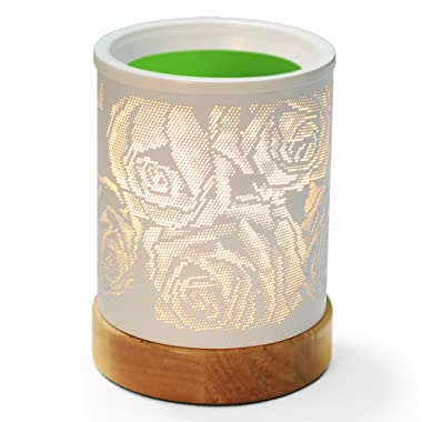Foromans Oil Warmer White Rose Style Wax Melts Warmer with White Metal Cover Wood Base Fragrance Warmer Lamp for Home Décor