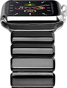 Cogift Watch Band for Apple Watch Series6, 44mm/42mm Stainless Steel Replacement Strap Link Bracelet Metal iWatch Band with Double Button Folding Clasp for Apple Watch 6/5/4/3/2/1/SE -Bright Black