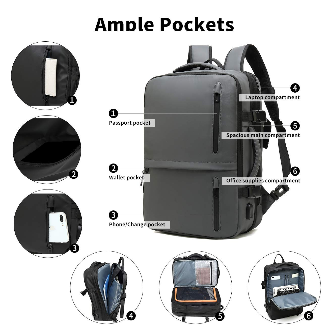 Large Capacity Travel Backpack, 17.3 Laptop Backpack with USB Charging Port