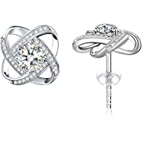 J.Rosée Women Classic 925 Sterling Silver High Polished Cubic Zirconia Small Hinged Hoop Earrings Christmas Jewelry Gifts
