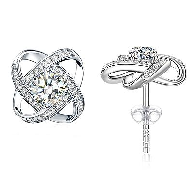 Women Earrings 925 Sterling Silver Round Cut Cubic Zirconia Stud Earrings for Women Jewelry Gift Packaging 1dnLoZA