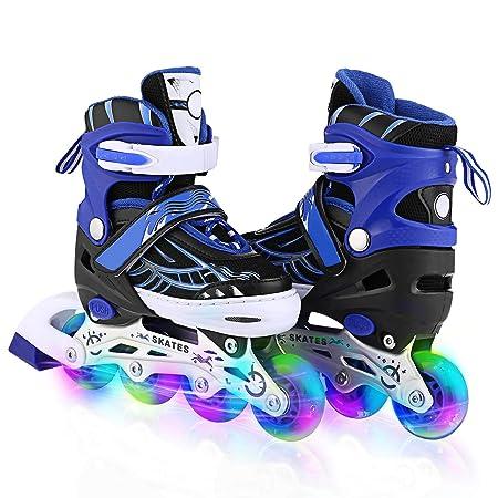 WeSkate Inline Skates Kinder/Erwachsene verstellbar mädchen/Jungen Inline Skates Rollschuhe PU Verschleißfeste Roller Skates
