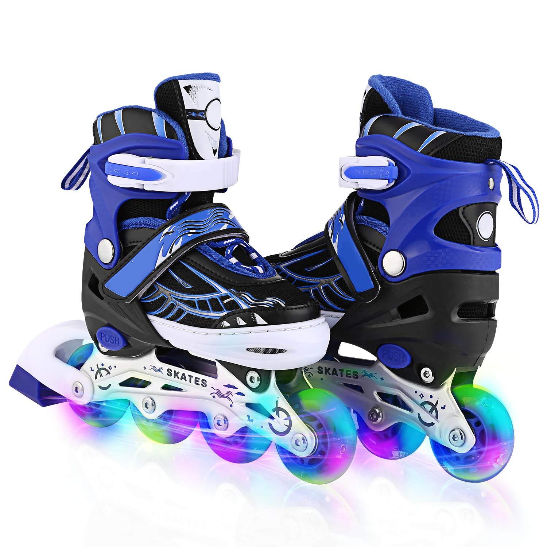 Unisex Kids Adjustable Inline Skates with Light up Illuminating Wheels Outdoor Skating Roller Skates for Girls Boys, Men Ladies (Blue, US 2-5)