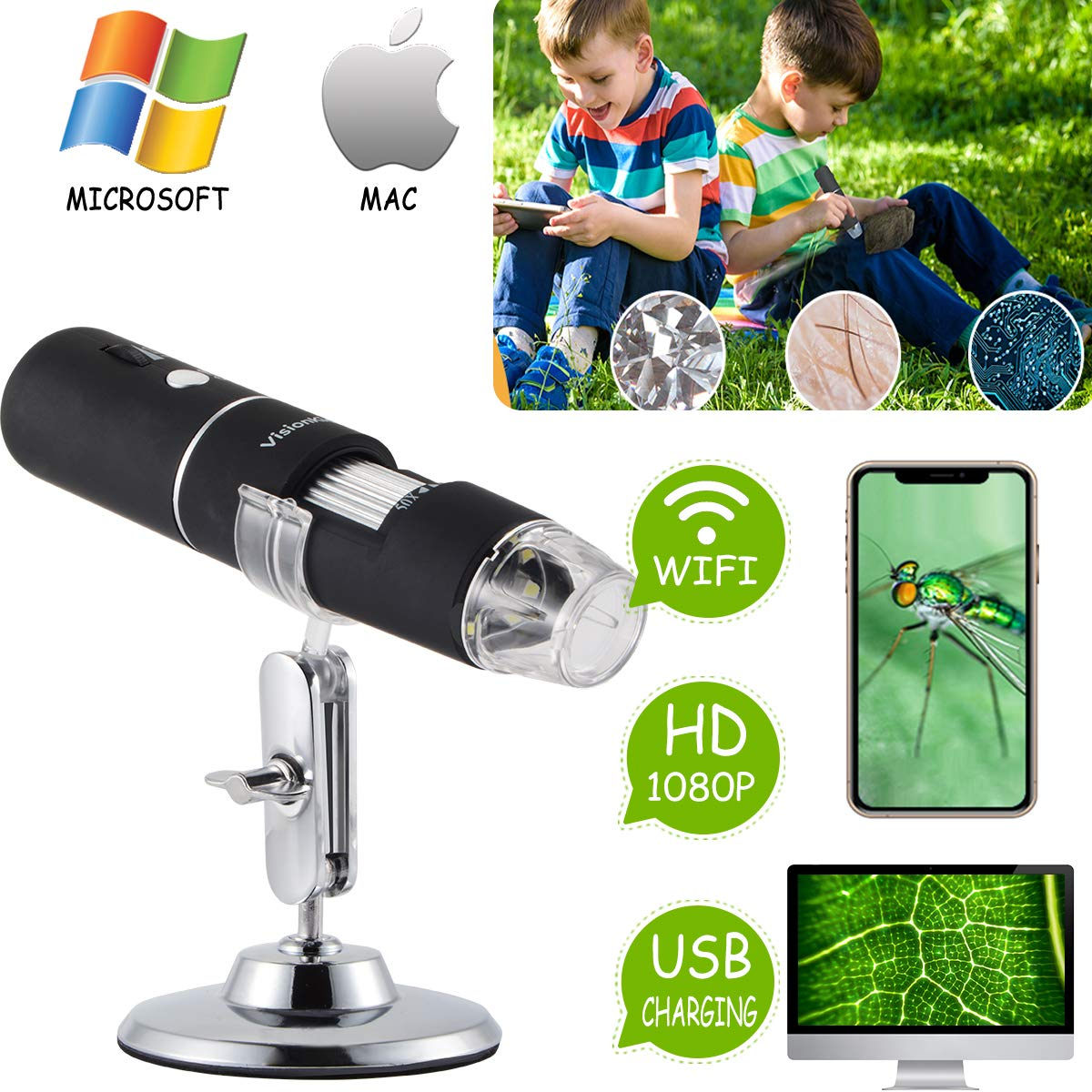 Microscope For Kids Science Wireless WiFi USB 50x to 1000x Magnification +Android, iOS, Smartphone,Windows,Mac PC,iPad + Science Toy, Educational Toy Birthday Gift For Boys & Girls