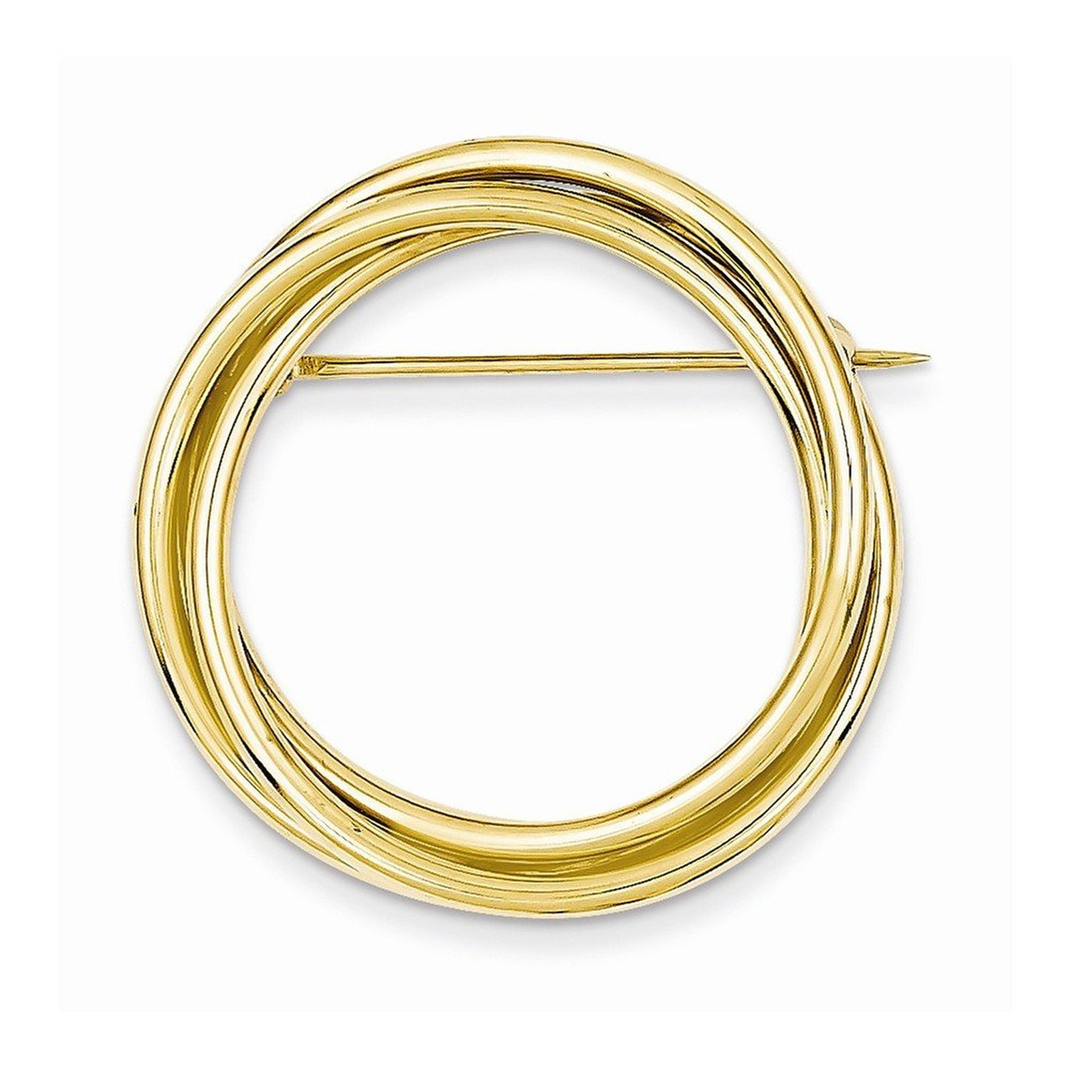 14k Yellow Gold Round Circle Fancy Pin Brooch 32mm x 32mm
