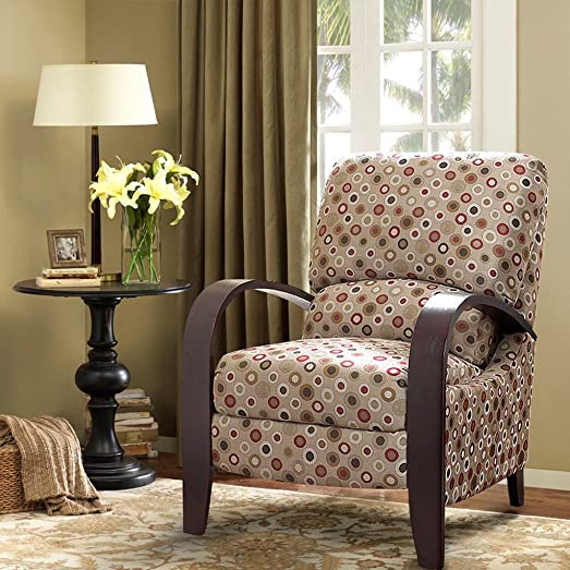 ModHaus Living Mid Century Retro Circle Print Tan Reclining Upholstered Chair with Curved Bent Arm – Includes Pen