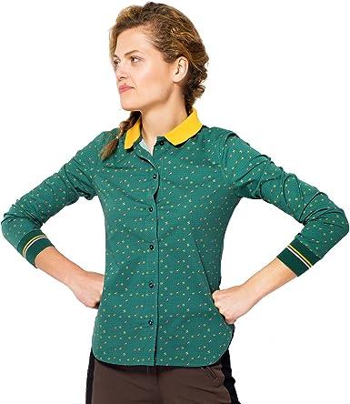 chaika Camisa Mujer de Vestir de Marca Original Manga Larga Estampada Verde, M: Amazon.es: Ropa y accesorios