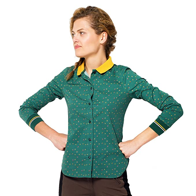 chaika Camisa Mujer de Vestir Manga Larga Blusa Estampada Verde, Moda 2018 XS