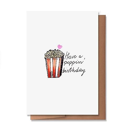 Birthday Greeting Card Joke Greeting Card Food Greeting Card Popcorn Joke Birthday Card Pun Greeting Card