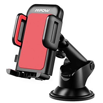 Mpow Car Phone Mount, Dashboard Car Phone Holder, Washable Strong Sticky Gel Pad with One-Touch Design Compatible iPhone 11 Pro, Max, X, XS, XR, 8, 7, 6 Plus, Galaxy S7, 8, 9, 10, Google Nexus, Red