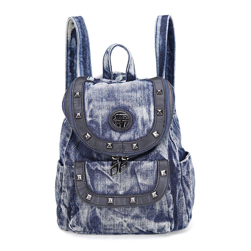 Genda 2Archer Women Girls Denim Hiking Daypack Jeans Satchel Travel Backpack (Blue)