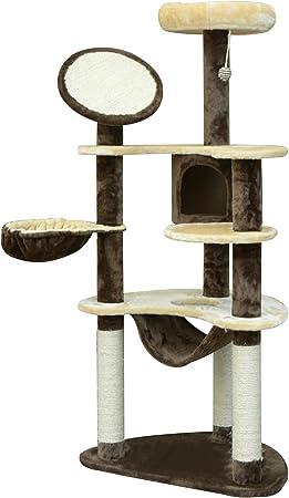 HOMCOM PawHut Rascador para Gatos 153x65x50 cm Arbol para Arañar Poste Centro De Actividades Gato Color Marron: Amazon.es: Hogar
