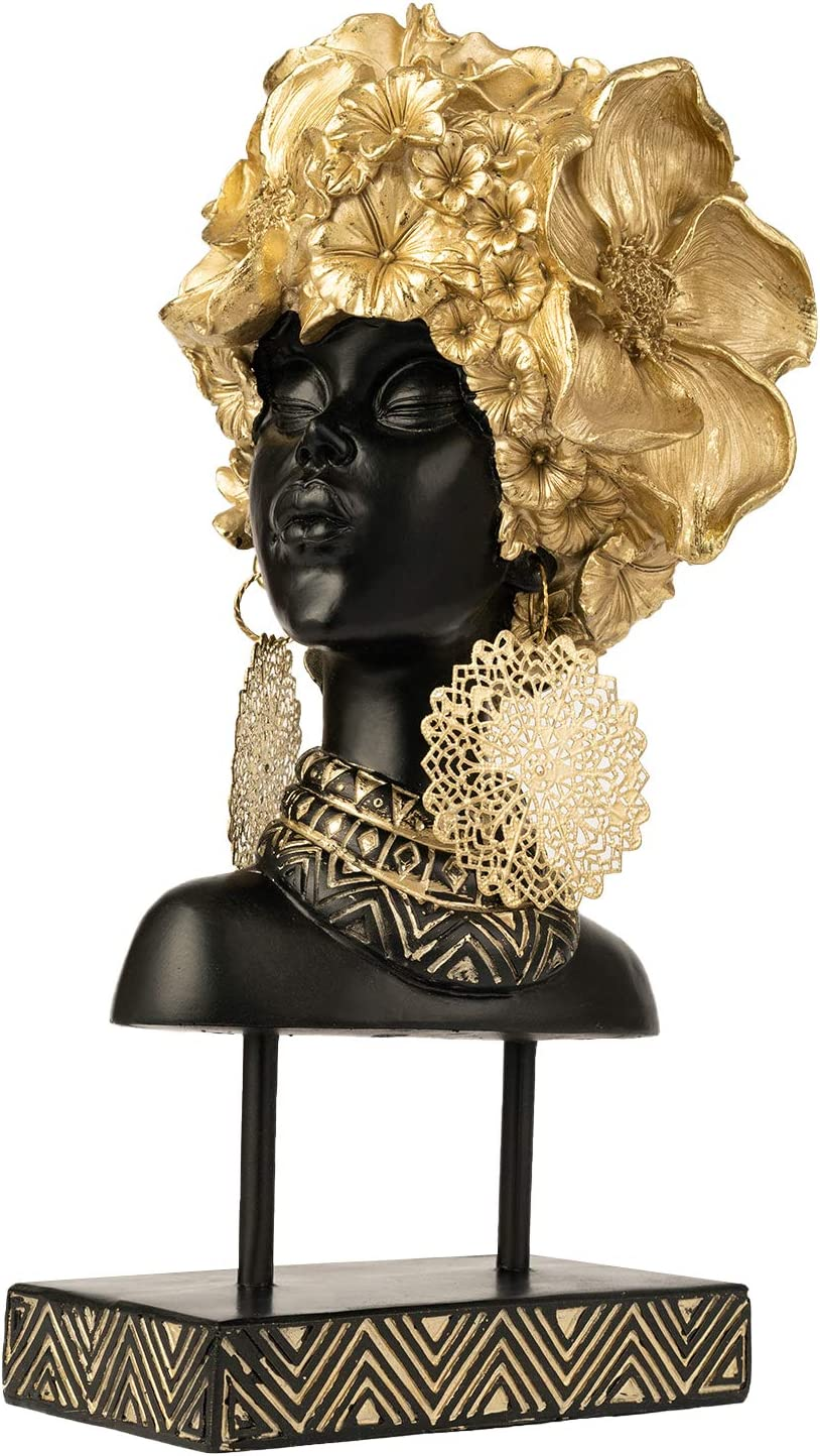 YINASI African Woman Head Statue, Creative Handcrafted Tabletop Decorations with Gold Flowers and Earrings, Collectible Sculpture Art Statue for Living Room Bedroom Office