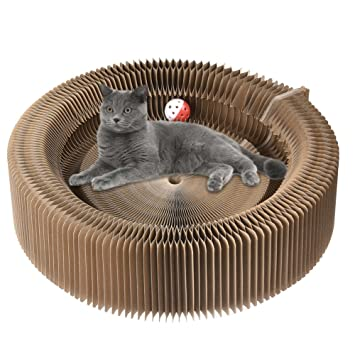 Cat Scratcher Cardboard Lounger With Ball Toy Kitty Pet Amazon Co