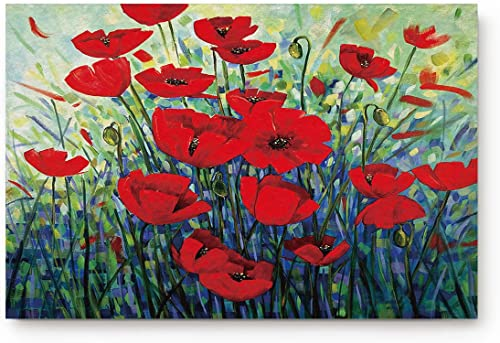 FAMILYDECOR Doormat for Entrance Way Indoor Bathroom Front Door Area Floor Mat Rugs Rubber Non Slip Waterproof Absorb Kitchen Runner Carpet, Red Poppy Flowers Oil Painting Art Design 32 x20