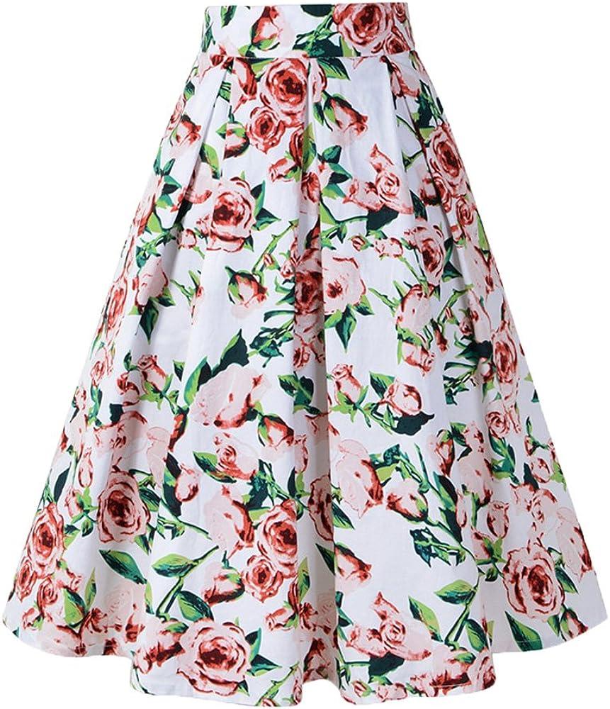 Mujer Falda Plisada Vintage Estampado Floral Falda De Playa ...