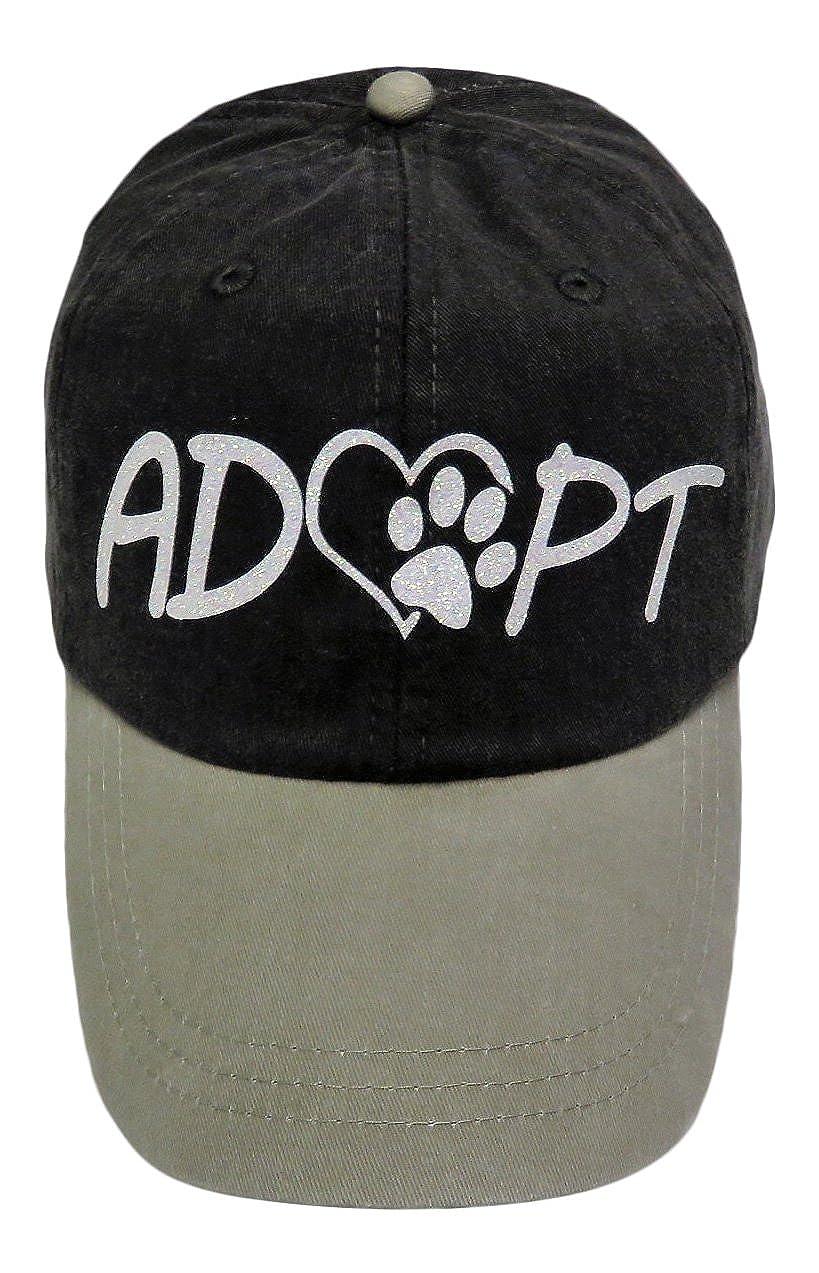 8fb71248964d7 White Glitter Adopt Paw Print Mom Grey Khaki Baseball Cap Animal Dog Cat at  Amazon Women s Clothing store