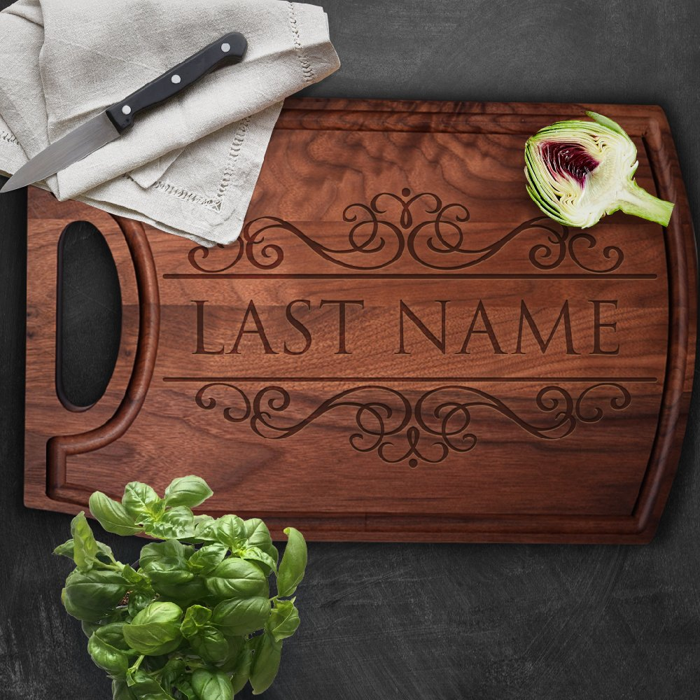 P Lab Personalized Cutting Board, Custom Engraved Cutting Board with Juice Drip Groove, Christmas Gift, Wedding Gift, Anniversary Gift, Housewarming (10-1/2'' x 16'' x 3/4'') Walnut Cut Out Handle #M by Personalization Lab