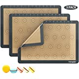 """Homgeek Silicone Macaron Baking Mat with Measurements, Set of 3 Large Reusable Professional Non Stick Silicon Liner for Bake Pans & Rolling, Macaroon/Pastry/Cookie Making, 16.5"""" x 11.6"""", Brown"""