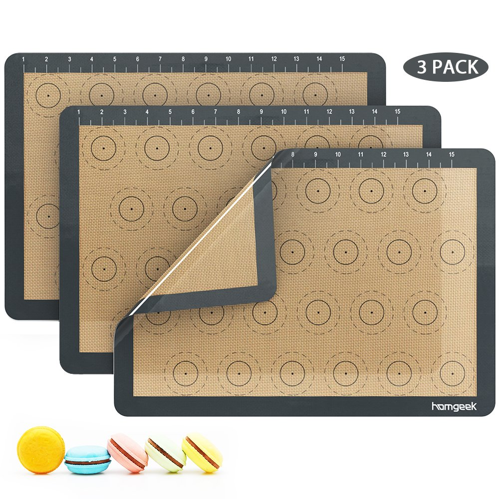 Homgeek Silicone Macaron Baking Mat with Measurements, Set of 3 Large Reusable Professional Non Stick Silicon Liner for Bake Pans & Rolling, Macaroon/Pastry/Cookie Making, 16.5'' x 11.6'', Brown