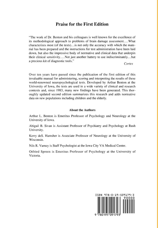 Contributions to Neuropsychological Assessment: A Clinical Manual: Arthur  L. Benton, Abigail B. Sivan, Kerry deS. Hamsher, Nils R. Varney, Otfried  Spreen: ...