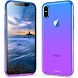 iPhone X Case, Ansiwee Gradual Colorful Edge iPhone X Slim Case Lightweight Cover Thin Fit Protective Shell Flexible Shock Absorbing Soft Rubber Bumper Case for Apple iPhone X 5.8 inch (Blue Purple)