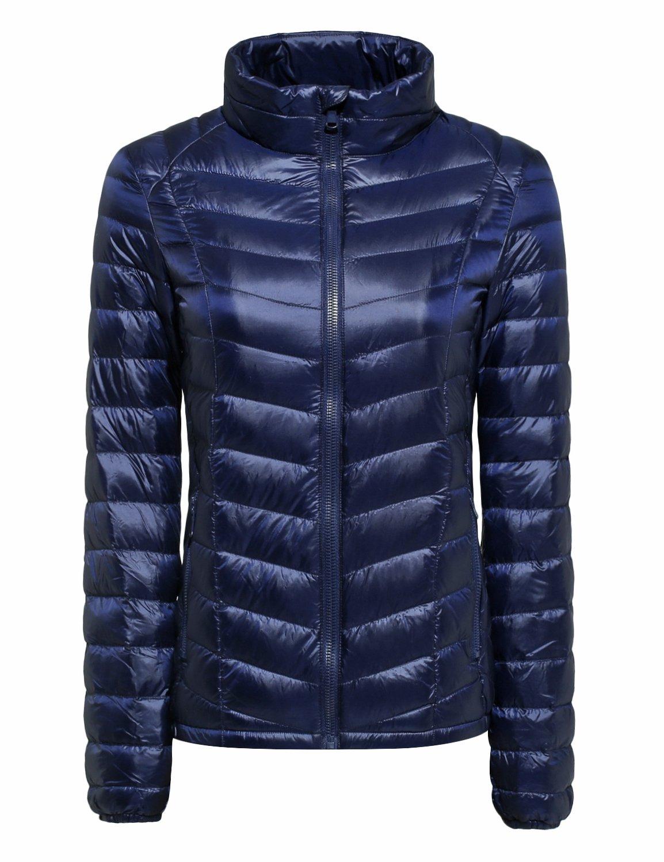 CHERRY CHICK Women's Packable Down Moto Jacket (L, Navy-JT)