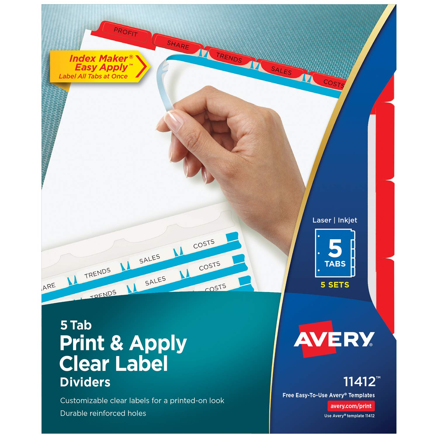 Index Maker(R) Print & Apply Clear Label Dividers with Traditional Color Tabs, 8-1/2'' x 11'', 5 Tab, Red Tab, White Body, Laser/Inkjet, 5 Set/PK