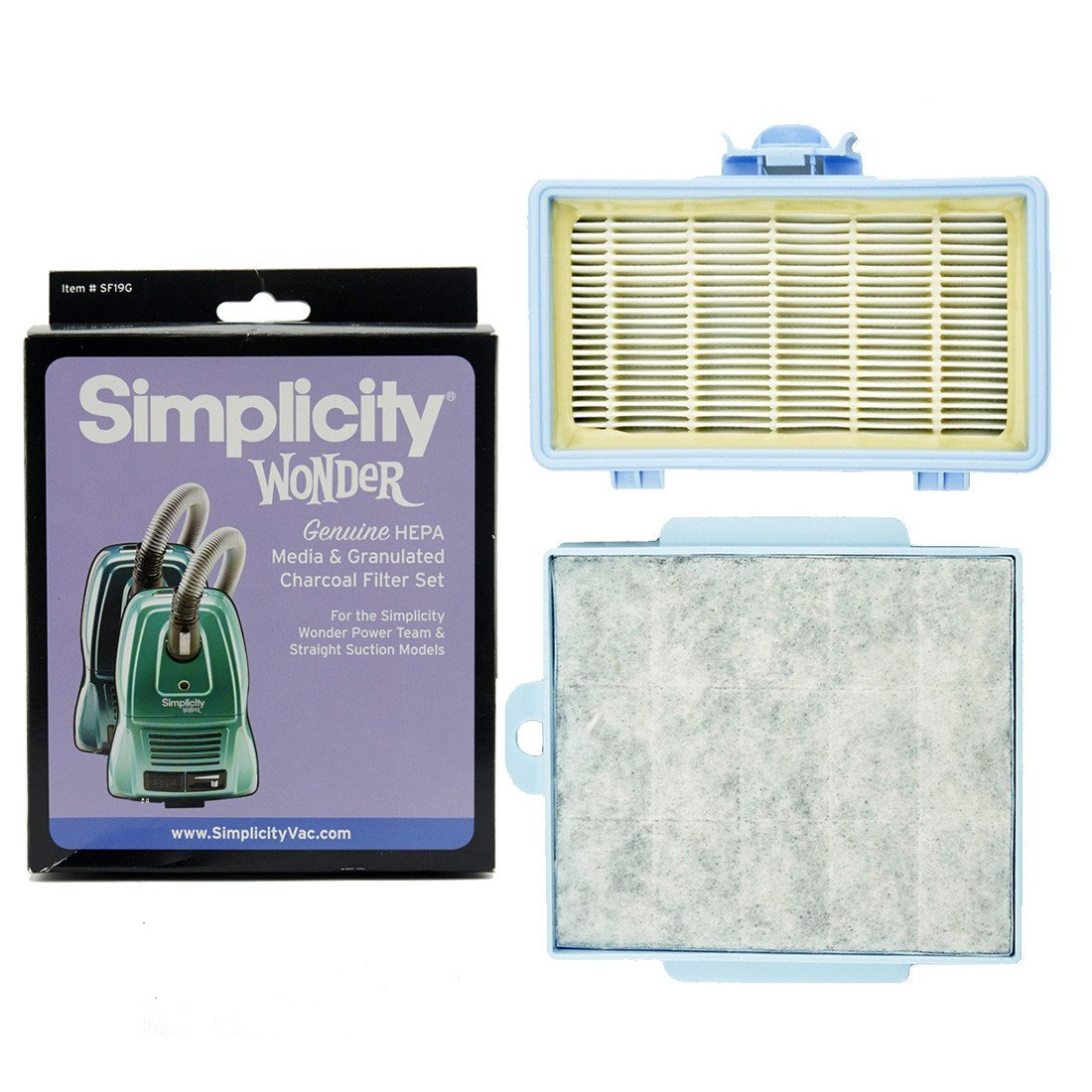 Simplicity Genuine HEPA Media & Granulated Charcoal Filter Set for Wonder Power Team & Straight Suction Models by Simplicity