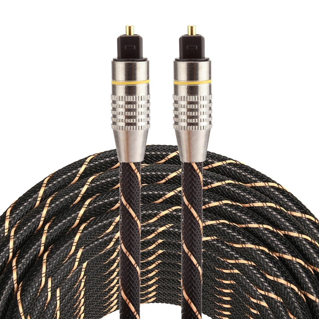 Optical Cables, 15m OD6.0mm Gold Plated Metal Head Woven Net Line Toslink Male to Male Digital Optical Audio Cable