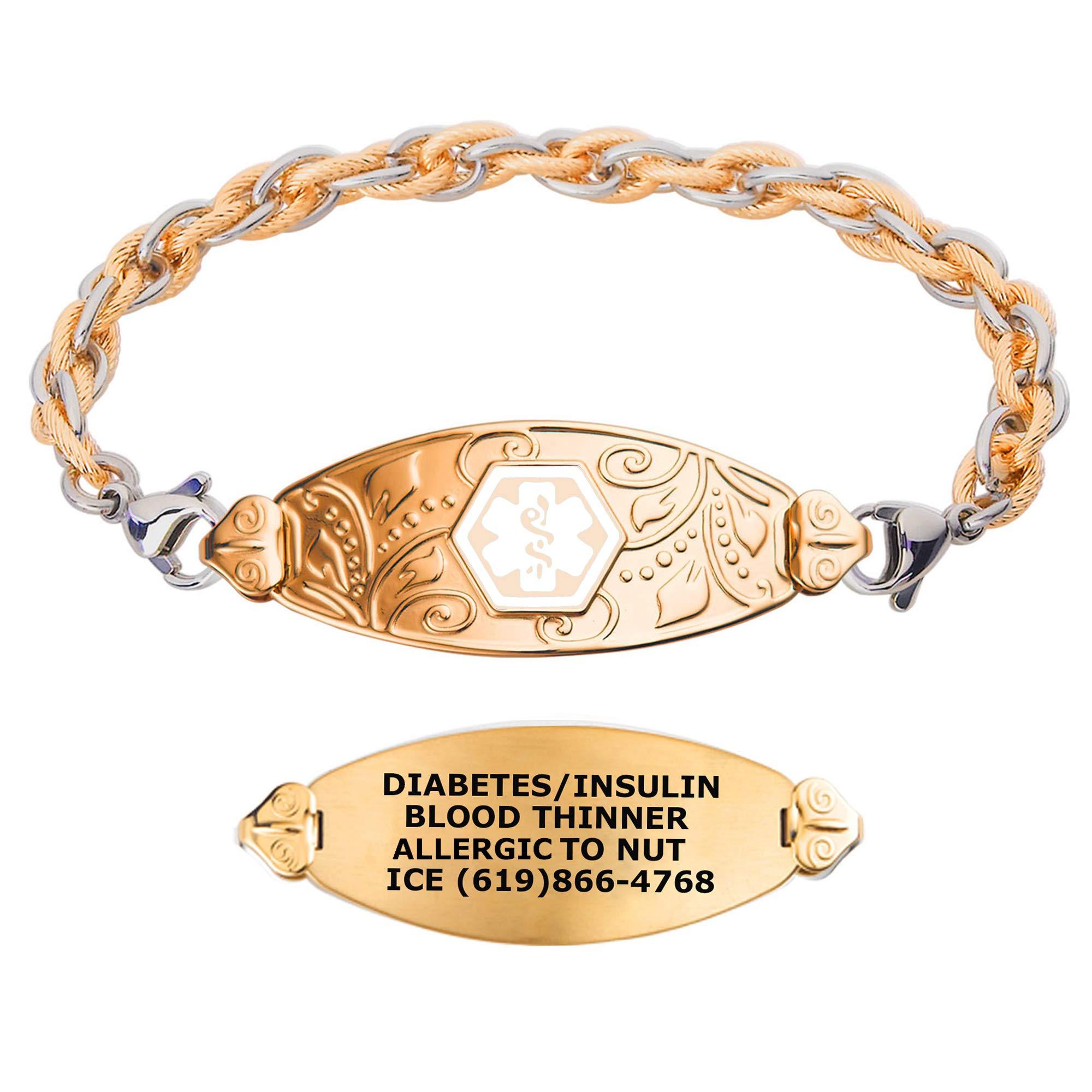 Divoti Custom Engraved Medical Alert Bracelets for Women, Stainless Steel Medical Bracelet, Medical ID Bracelet w/Free Engraving - PVD Gold Lovely Filigree Tag w/Inter-Mesh Gold/Silver-White-8.0'' by Divoti