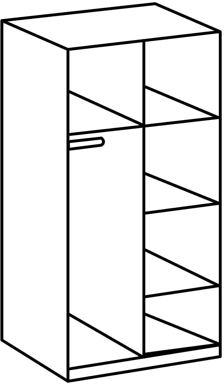 90 x 197 x 58 cm San Remo-Eiche// Absetzung Glas Wei/ß B//H//T Wimex Kleiderschrank// Dreht/ürenschrank Potsdam,
