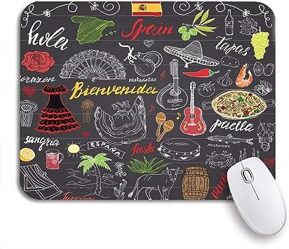 Alfombrilla de ratón para juegos Garabatos de España Letras en español Alimentos Paella Camarones Uva de oliva Respaldo de goma antideslizante Computadora Alfombrilla para portátiles Alfombrillas de r: Amazon.es: Electrónica