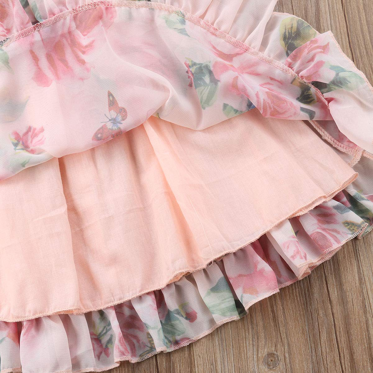 Newborn Toddler Baby Girls Butterfly Floral Print Short Sleeve Ruffled Pleated Dress Princess Dress