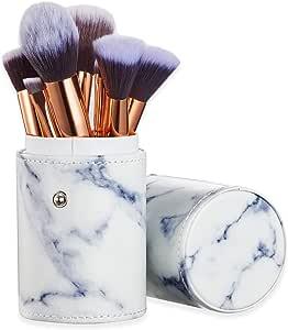 Ruesious Marble Makeup Brush Set with Brush Holder Pot | Premium Synthetic Foundation Powder Concealers Blending Eye Shadows Face Makeup Brush Sets(10 Pcs)