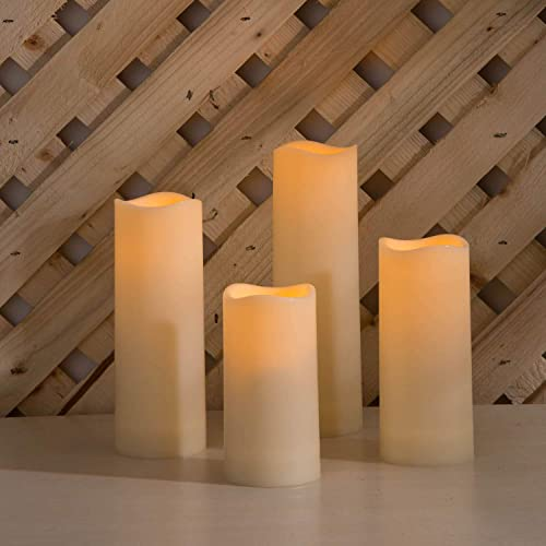 Outdoor Flameless Candles with Timer – Battery Operated, 2 Inch Diameter, Waterproof Ivory Resin, Flickering Warm White LED, Remote Control – 4 Pack
