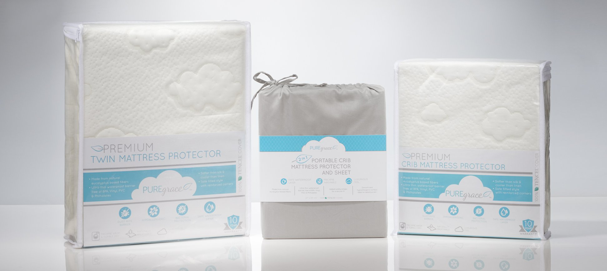 NEW from PUREgrace Playard Mattress SHEET and PROTECTOR in one - made with All Natural Hypoallergenic TENCEL, Waterproof Cover Protects and Fits Pack N Play or Mini Portable Crib Mattresses