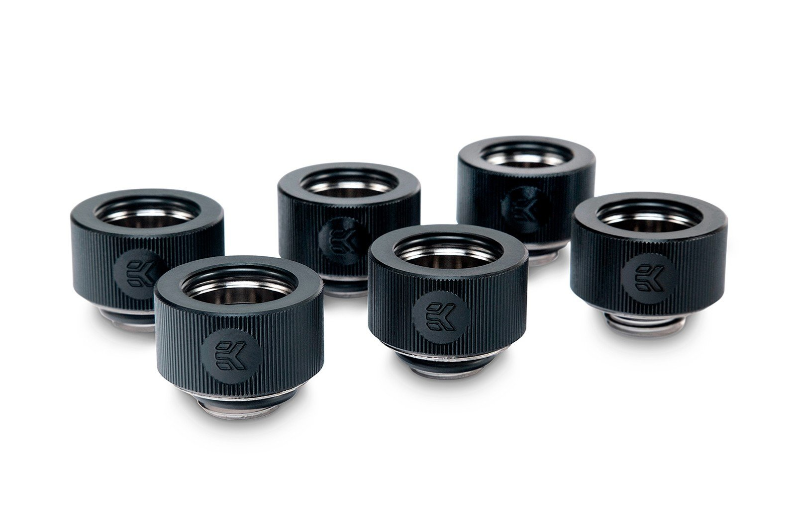 EKWB EK-HDC Compression Fitting for EK Rigid Tubing, 16mm OD, Black, 6-Pack