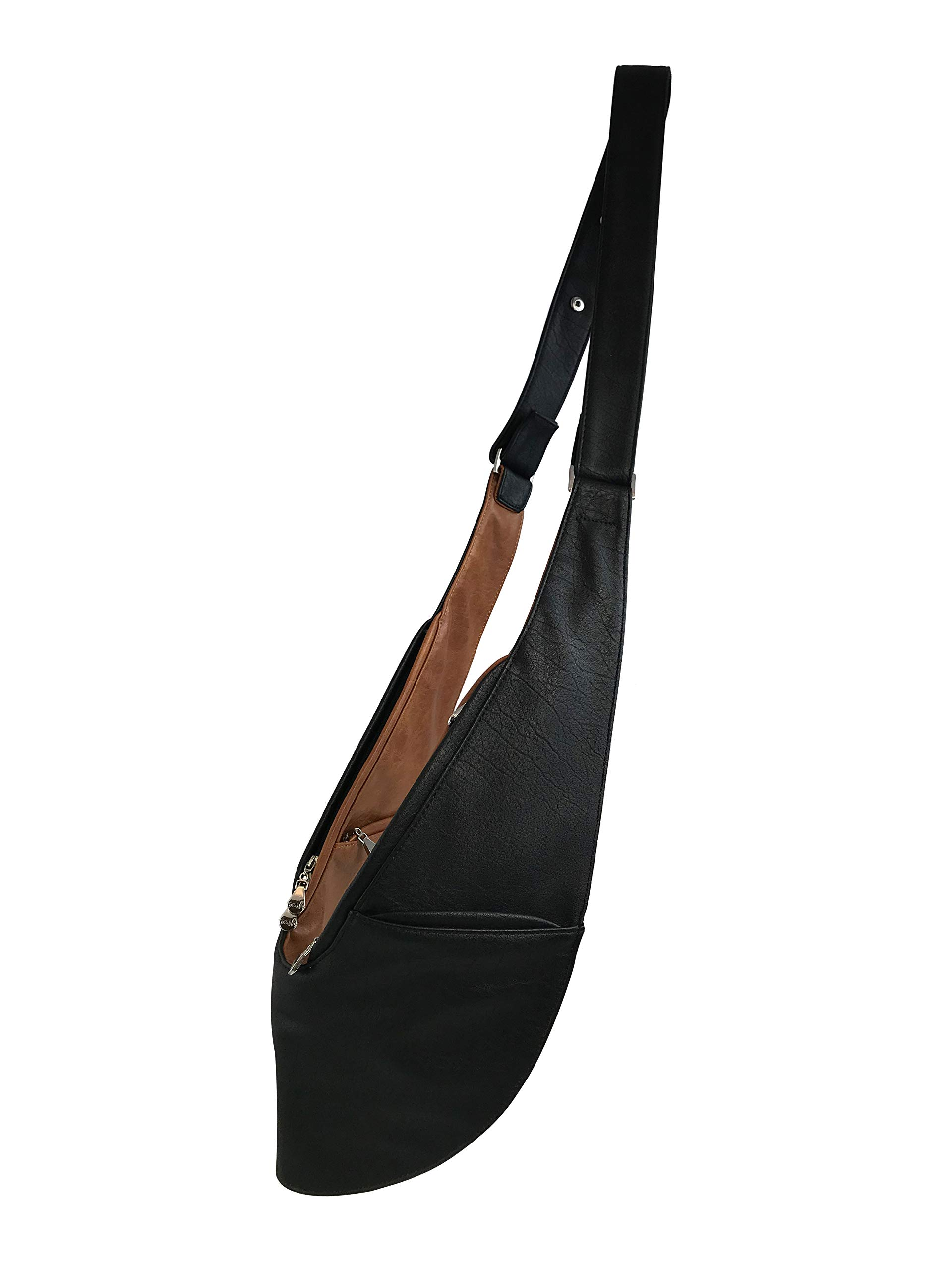 Womens Crossbody Bag by SASH - Over The Shoulder Cross Body Purse (Black/Caramel Faux Leather)