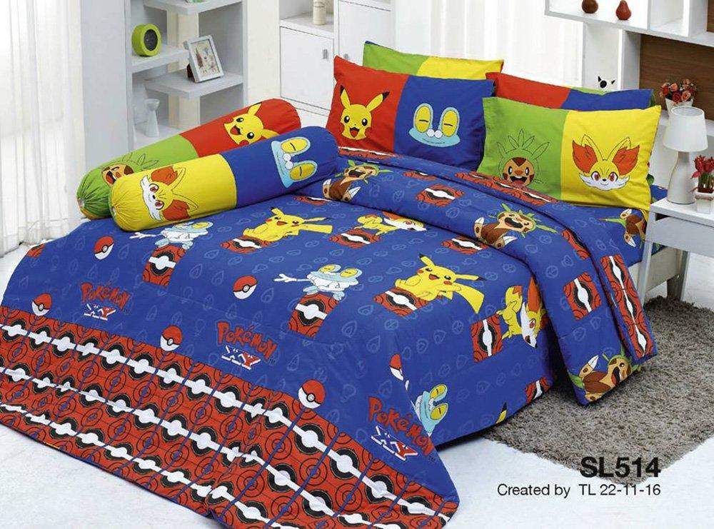 Pokemon Official Licensed Blue Bedding Set, Fitted Sheet, Pillow Case, Bolster Case, Comforter SL514 Set B+1 (Queen 60''x78'')