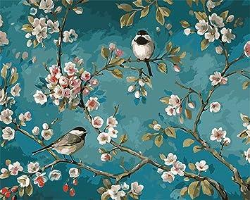 Captaincrafts Malen Nach Zahlen 16x20 Für Erwachsene Anfänger Kinder Kinder Leinwand Elster Liebe Blumen Zwei Vögel Mit Rahmen