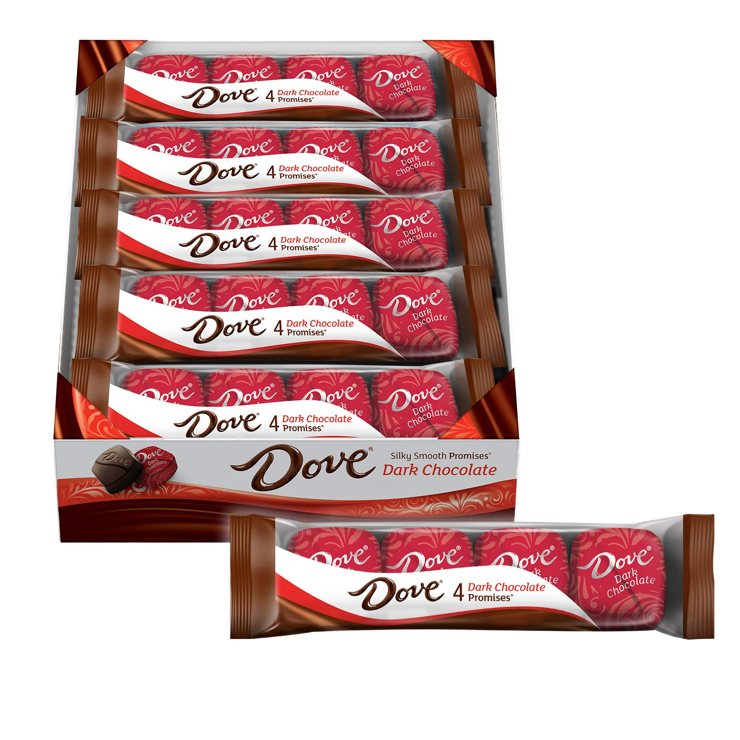 CDM product DOVE PROMISES Dark Chocolate Candy 4-Piece Packs 18-Count Box big image