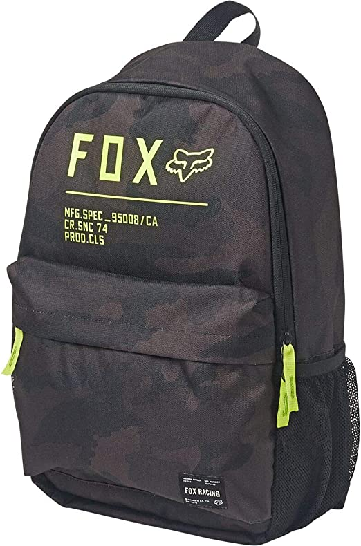 FOX RACING BLACK CAMO NON STOP LEGACY LOGO BACKPACK WITH INTERNAL LAPTOP SLEEVE