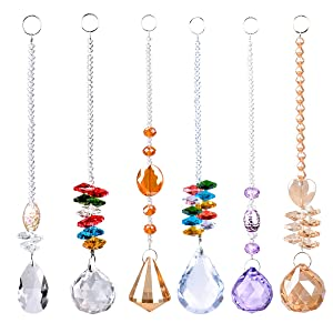 Chandelier Suncatchers Prisms Octogon Chakra Crystal Balls For Home,Office,Garden Decoration - Octagonal,Teardrop & Cone Shaped Prisms - Set Of 6 Beautiful Pendants For Car,Plant,Window Decor