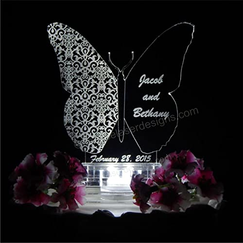 Amazon.com: Butterfly Shape Lighted Wedding Cake Topper Acrylic Cake ...