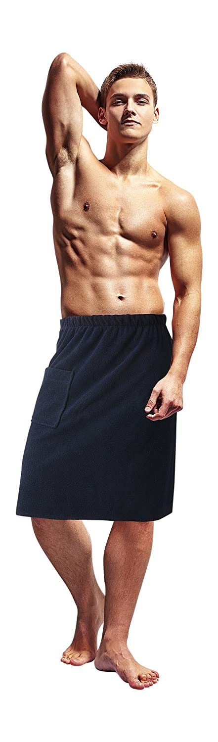 Mens Cotton Bath Cover Up Towel With Elastic Waist