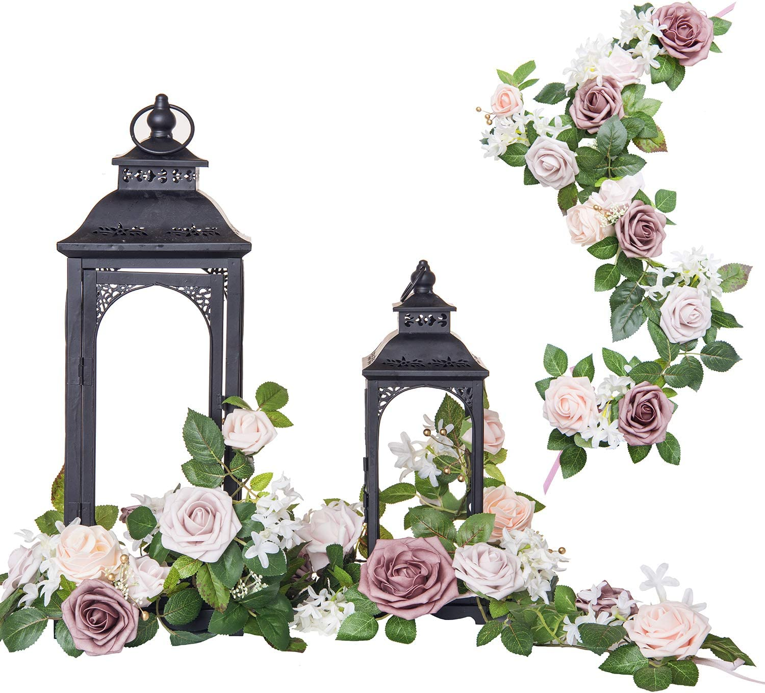 Ling's moment Handcrafted Rose Flower Garland Floral Arrangements Pack of 6 for Wedding Table Centerpieces Floral Runner Lantern Wreath Decorations (Blush+Dusty Rose)