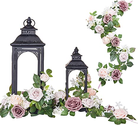 Amazon.com: Ling's moment Set of 6 Handcrafted Lantern Floral ...