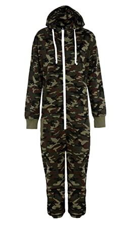 e3fc4b60f74b Mens Camo Camouflage Onesie Hooded Zip Onesies Playsuit All in One Piece  Jumpsuit Nouvelle Adult onesie