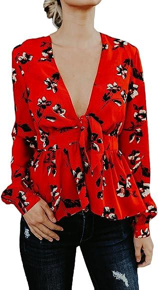 Blusas De Mujer Elegantes Manga Larga V Cuello Vintage Hippie Ropa Fiesta Modernas Estampado Flores Moda Casual Camisas Camiseta Blusa Top (Color : Rojo, Size : S): Amazon.es: Ropa y accesorios